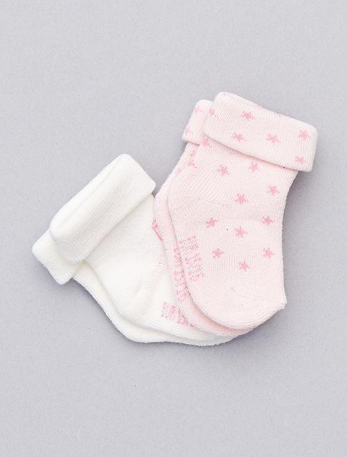 Lot de 2 paires de chaussettes en coton biologique                                                                 rose pâle Bébé fille