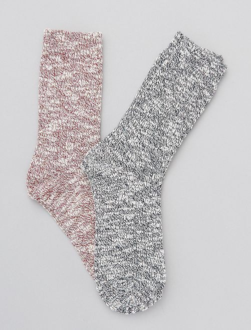 Lot de 2 paires de chaussettes en maille chinée                             bleu/rouge