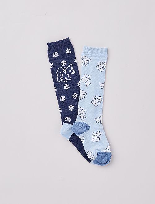 Lot de 2 paires de chaussettes hautes                                                                 marine/bleu