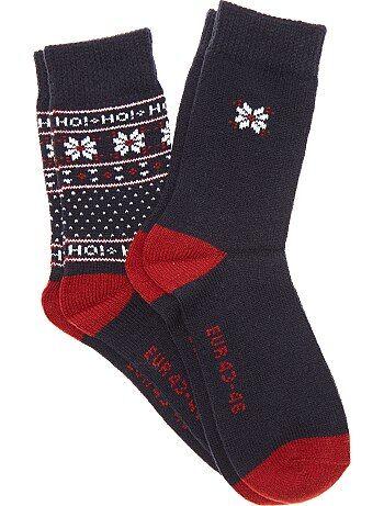 Lot de 2 paires de chaussettes jacquard