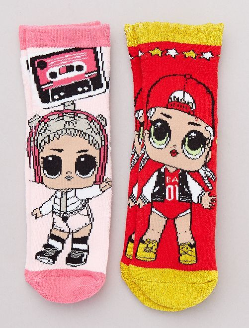 Lot de 2 paires de chaussettes 'L.O.L. Surprise !'                                         rouge/rose