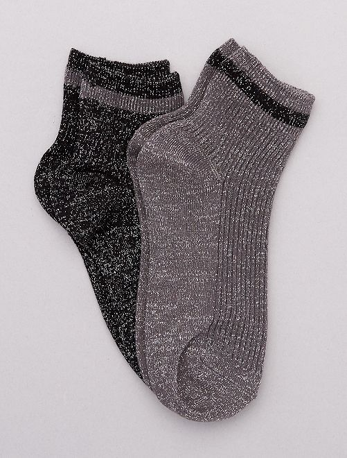 Lot de 2 paires de chaussettes lurex                                                                 gris clair/gris foncé