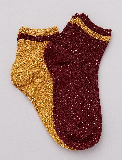 Lot de 2 paires de chaussettes lurex                                                                 jaune/rouge