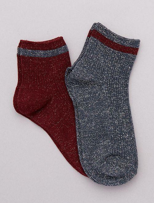 Lot de 2 paires de chaussettes lurex                                                                 kaki/rouge