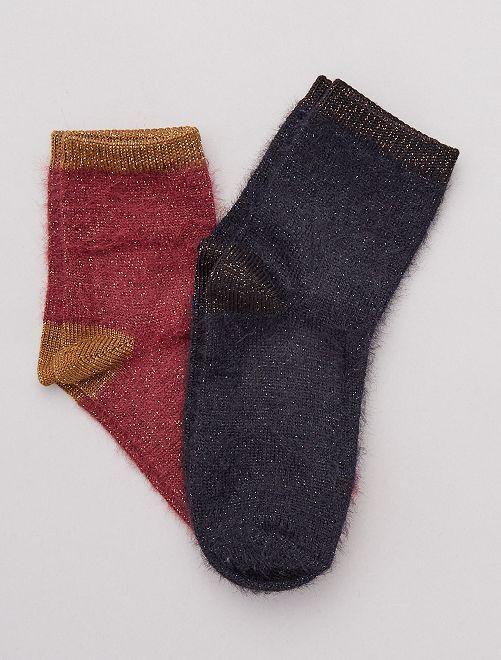Lot de 2 paires de chaussettes poilus et lurex                                         bordeaux