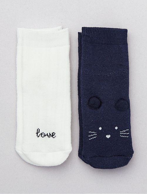 Lot de 2 paires de chaussettes 'Souris'                                                                 marine/écru