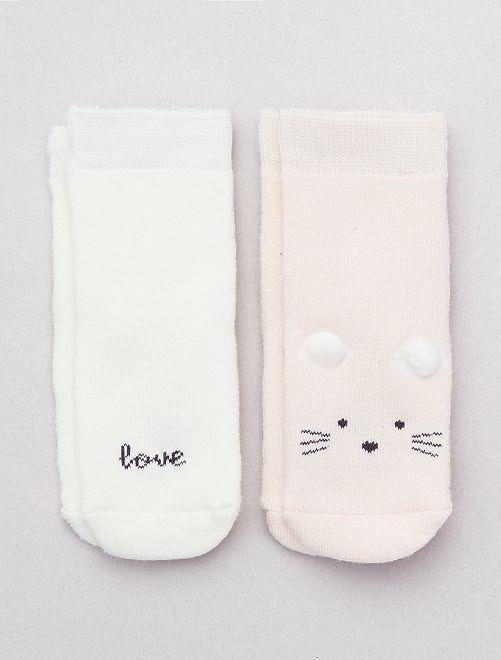 Lot de 2 paires de chaussettes 'Souris'                                                                 rose/écru