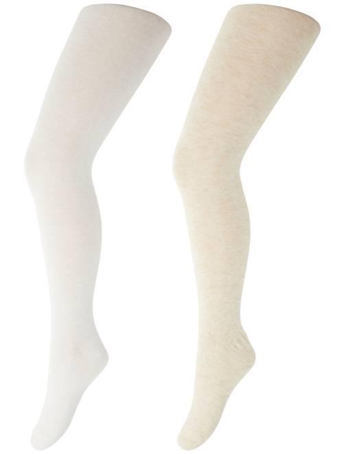 Lot de 2 paires de collants chauds                                                     crème/beige Fille