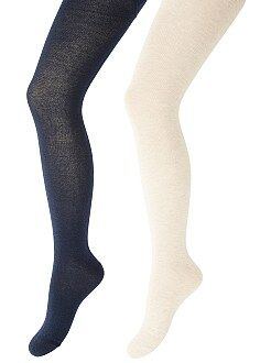 Fille 3-12 ans Lot de 2 paires de collants chauds unis