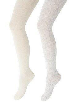 Collants, chaussettes - Lot de 2 paires de collants chauds unis
