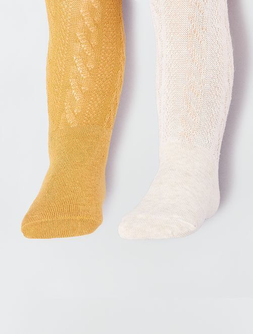 Lot de 2 paires de collants épais                                         orange/blanc