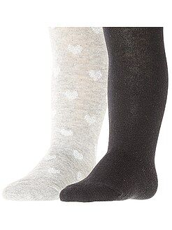 Chaussettes, collants - Lot de 2 paires de collants - Kiabi