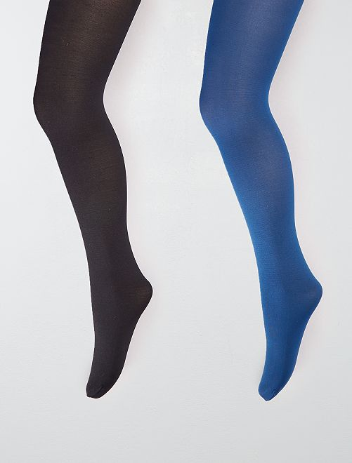 Lot de 2 paires de collants légers opaques                                                     noir/bleu