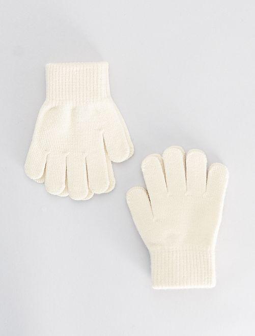 Lot de 2 paires de gants                                                     blanc