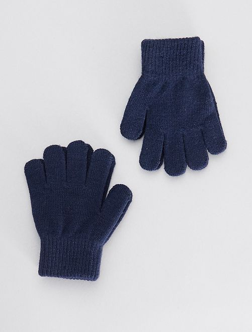 Lot de 2 paires de gants                                                     bleu marine