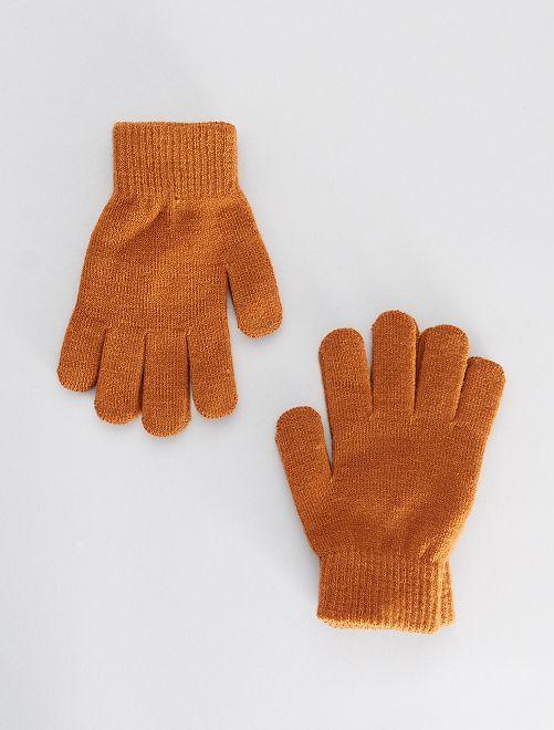 Lot de 2 paires de gants                                                     marron