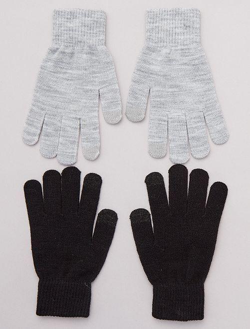 Lot de 2 paires de gants pour écran tactile                                                     gris/noir