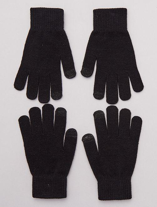 Lot de 2 paires de gants pour écran tactile                                                     noir