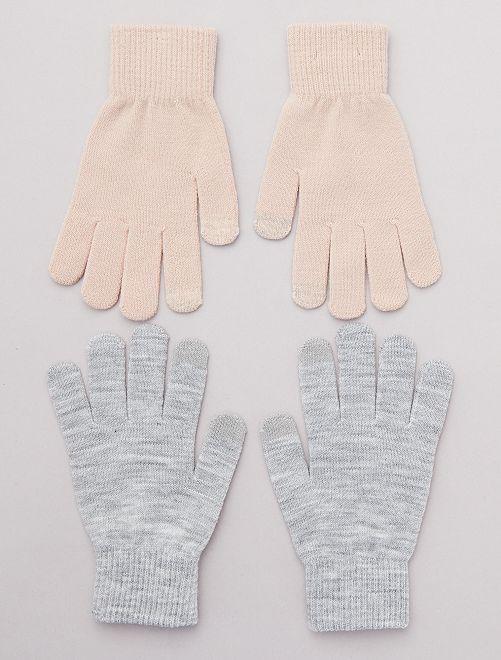Lot de 2 paires de gants pour écran tactile                                                     rose/gris