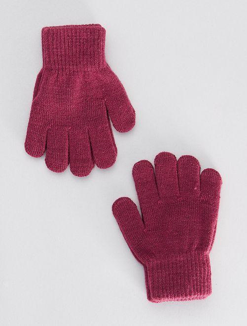 Lot de 2 paires de gants                                                     prune