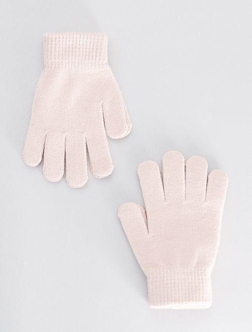 Lot de 2 paires de gants                                                     rose