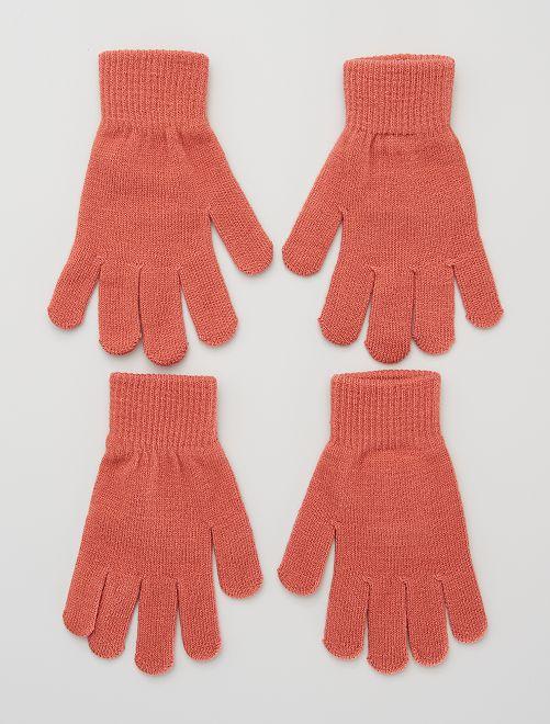 Lot de 2 paires de gants                                                     rose sombre