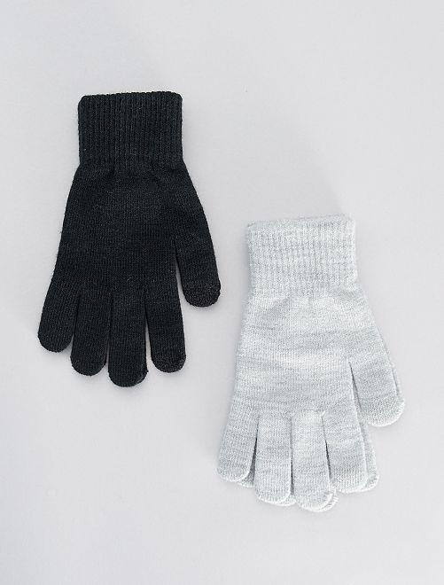 Lot de 2 paires de gants tactiles                                                                             gris/noir