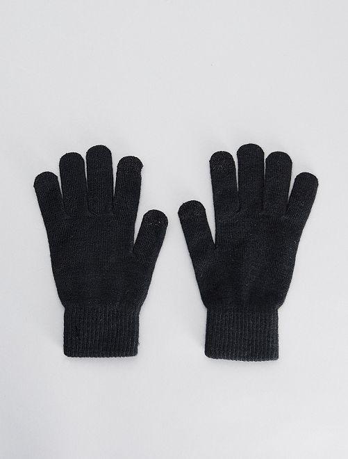 Lot de 2 paires de gants tactiles                                                                             noir