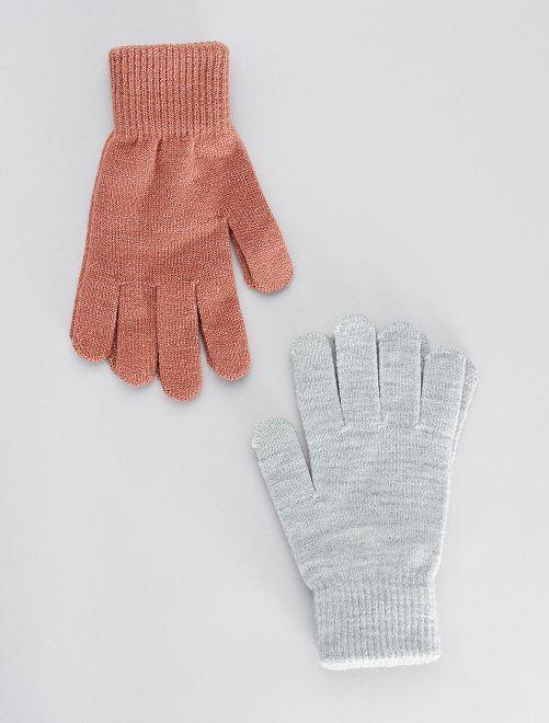 Lot de 2 paires de gants tactiles                                                                             rose/gris