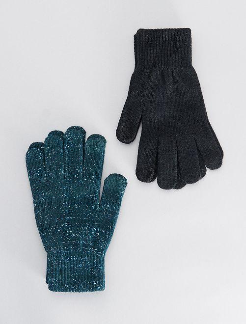 Lot de 2 paires de gants tactiles                                                                             VERT