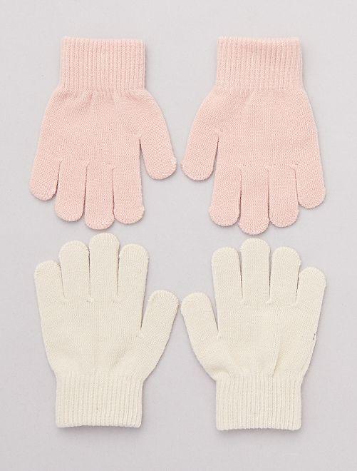 Lot de 2 paires de gants unis                                         beige/rose