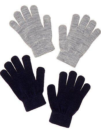 Garçon 3-12 ans - Lot de 2 paires de gants unis - Kiabi