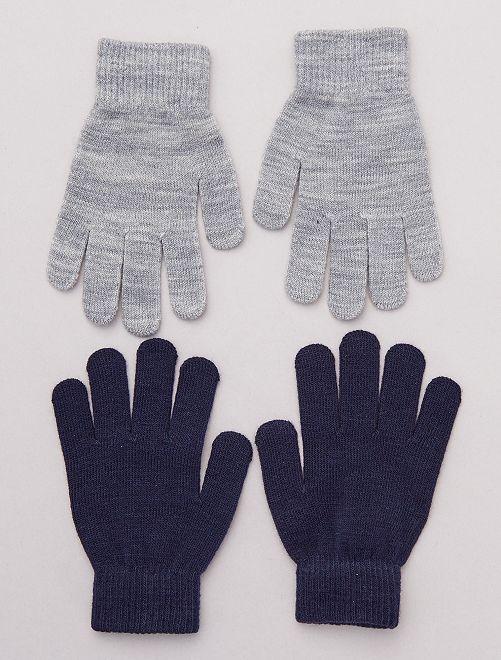 Lot de 2 paires de gants unis                                         gris/marine