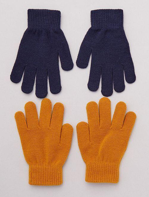 Lot de 2 paires de gants unis                     marine/marron