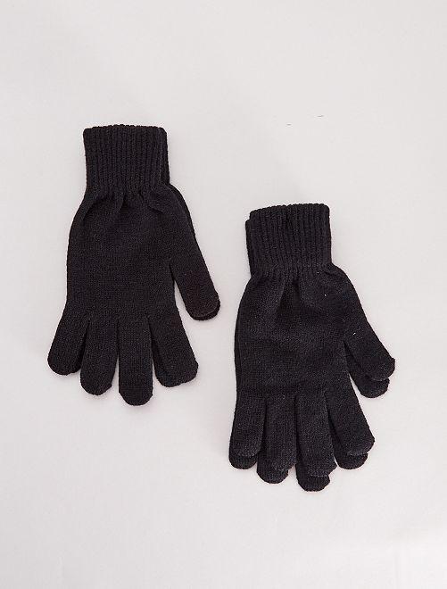 Lot de 2 paires de gants unis                                         noir