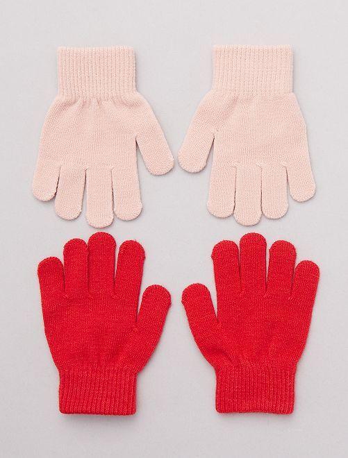 Lot de 2 paires de gants unis                                         rose/rouge Fille