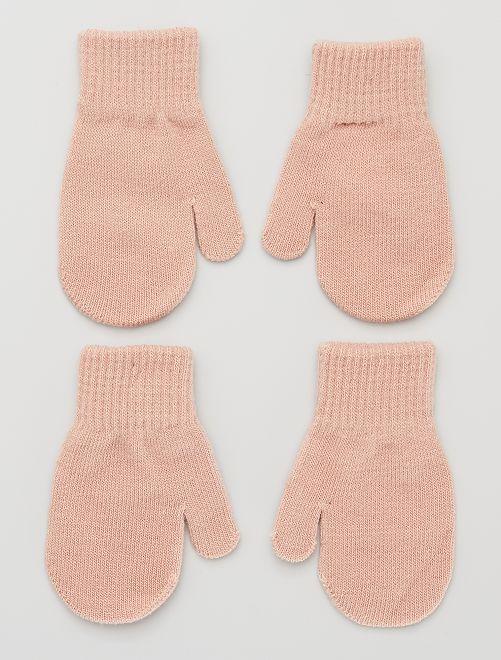Lot de 2 paires de moufles                             ROSE