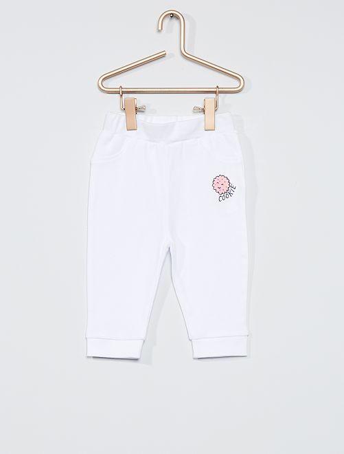 Lot de 2 pantalons jersey                             rose/blanc