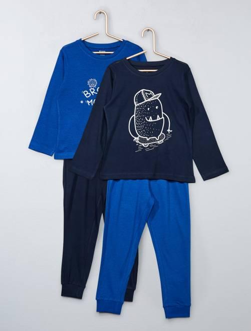 Lot de 2 pyjamas 2 pièces                                         BLEU Garçon