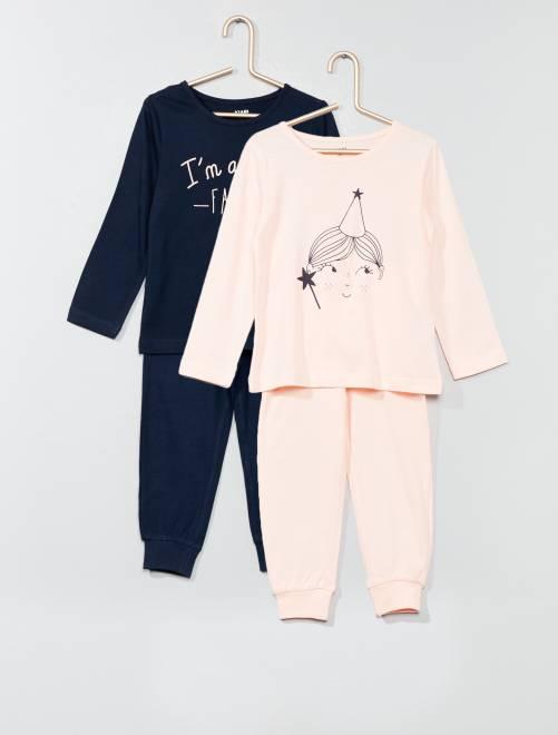 Lot de 2 pyjamas imprimés                                         bleu marine Fille