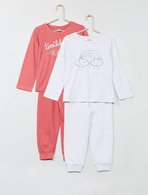 Lot de 2 pyjamas imprimés                                         gris chiné Fille