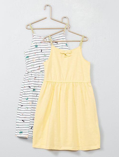 Lot de 2 robes à bretelles en jersey                                                                             blanc rayé/jaune Fille