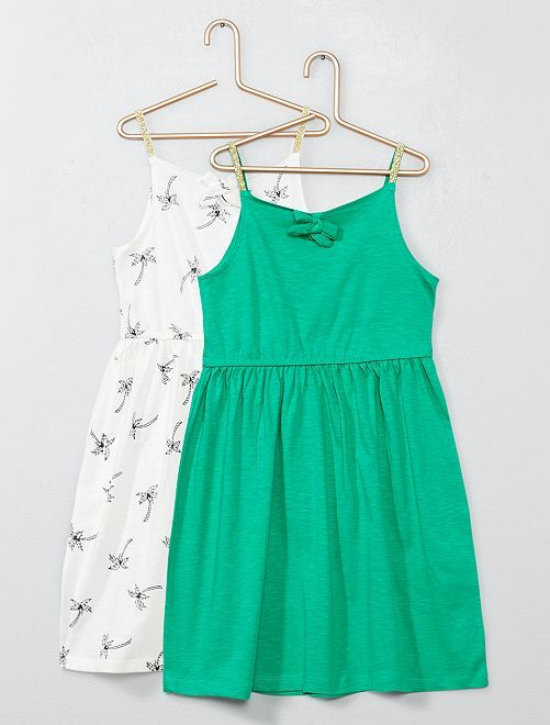 Lot de 2 robes à bretelles en jersey                                                                             blanc/vert