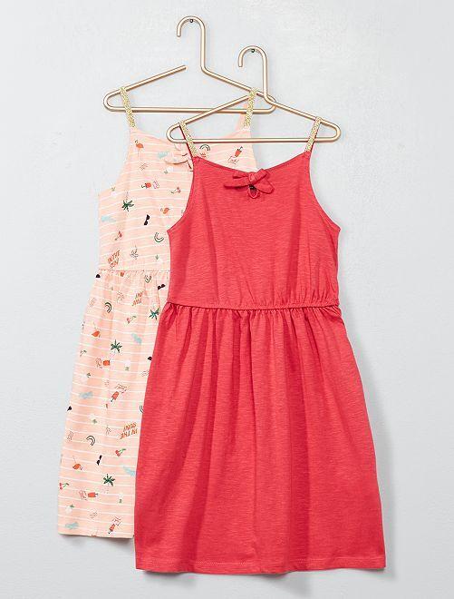 Lot de 2 robes à bretelles en jersey                                                                                         rose/fuchsia Fille