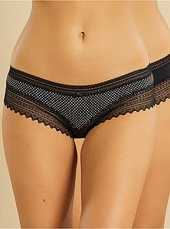 Lingerie en lot - Lot de 2 shorties coton 'DIM' bords dentelle