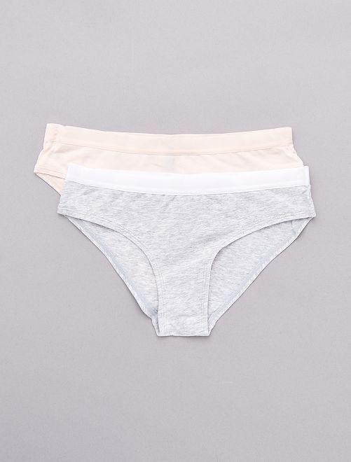 Lot de 2 shorties en coton stretch                                                                 gris/rose