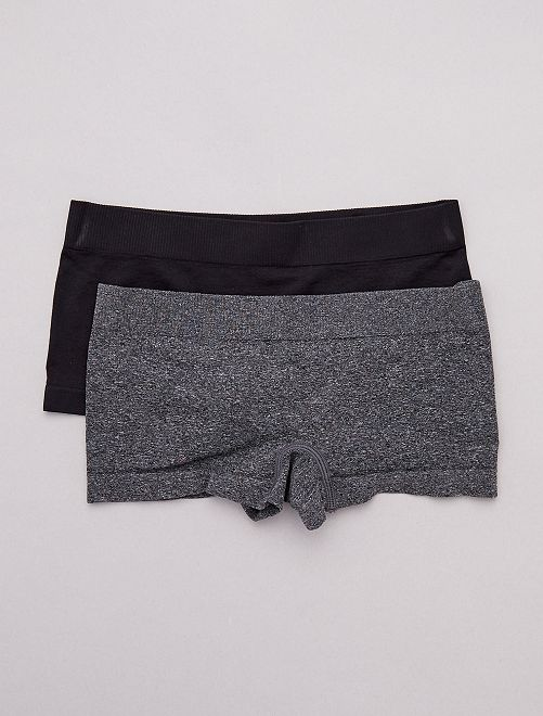 Lot de 2 shorties                                         noir/gris Fille adolescente