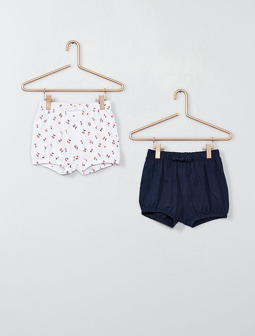 Lot de 2 shorts                                                     blanc/marine