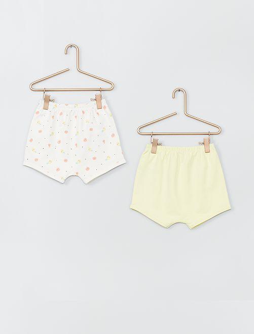 Lot de 2 shorts en coton                                                                 blanc/jaune
