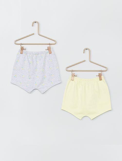 Lot de 2 shorts en coton                                                                 jaune/gris